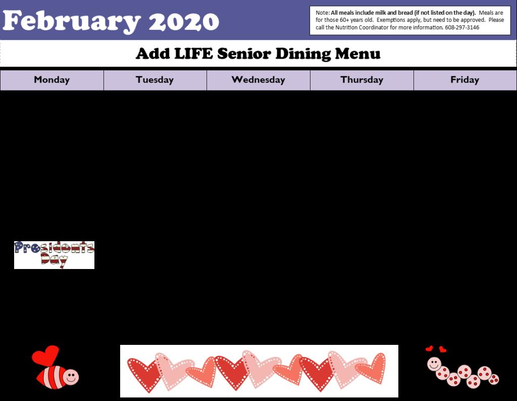 Picture of February 2020 Menu