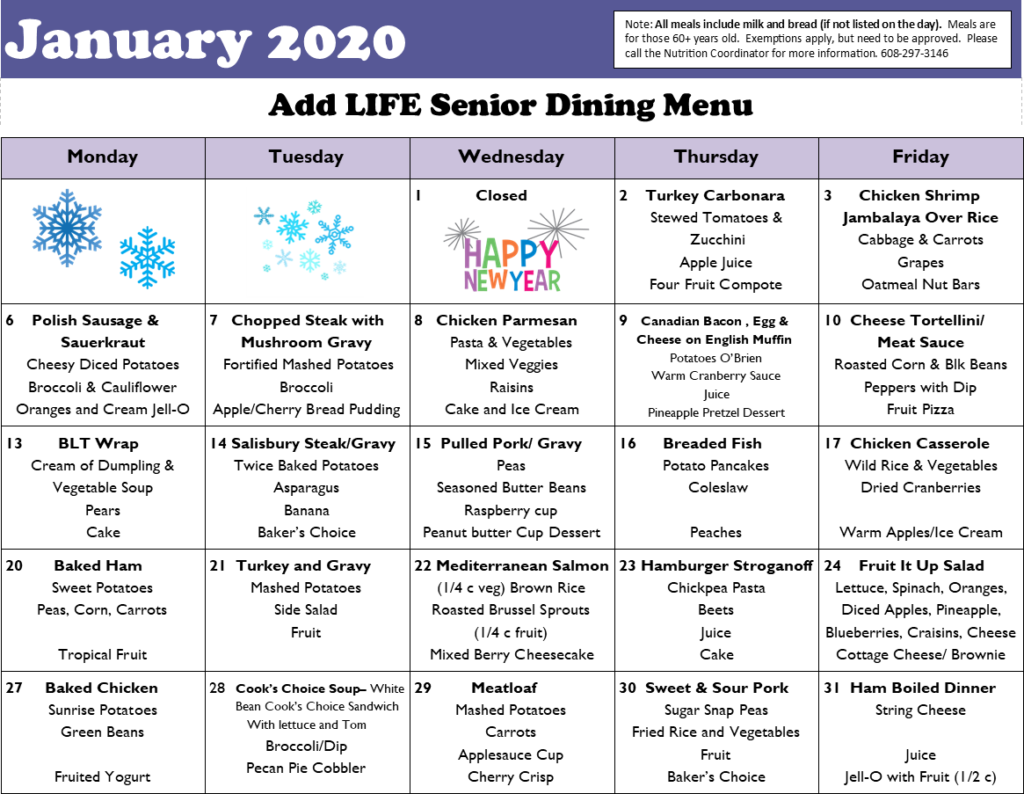 Picture of January 2020 Menu